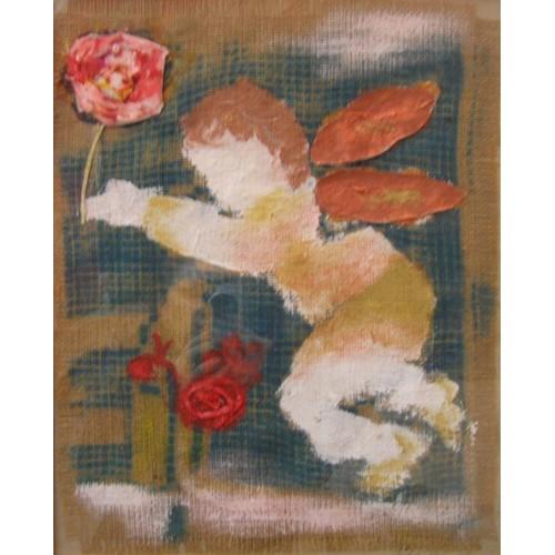 Anđeo i cvijet kombinirana tehnika